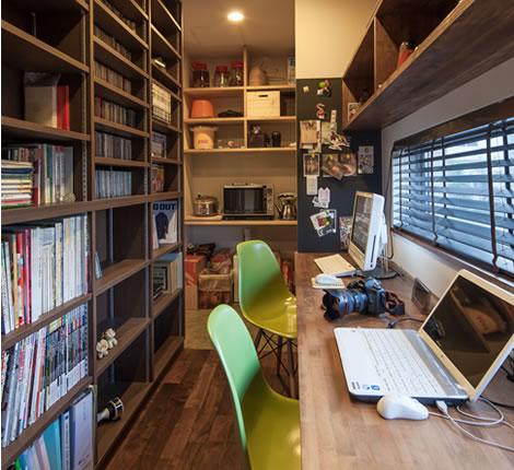 こだわりリビングの家書斎